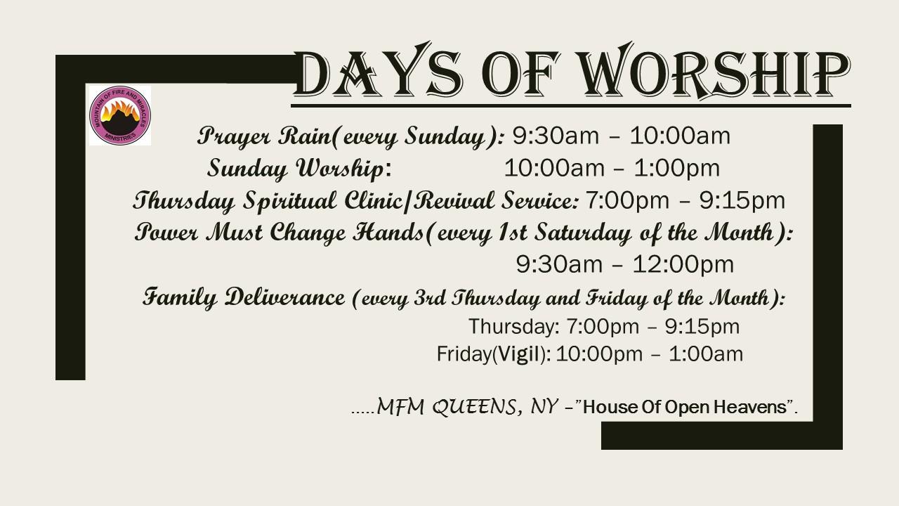 """MFM Queens – THE HOUSE OF """"OPEN HEAVEN"""""""